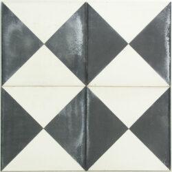 Portugese cement tegels 20x20 zwart wit driehoeken type 14