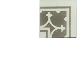 Portugese cement tegels 20x20 hoekstuk grijs type 21