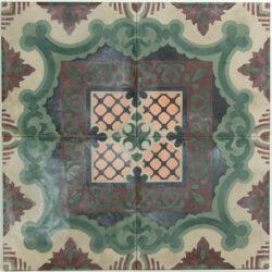 Portugese cement tegels 20x20 groen zwart paars type 23