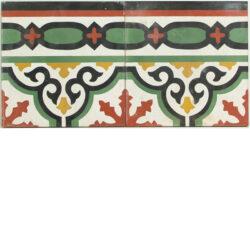 Portugese cement tegels 20x20 afwerkrand groen zwart rood type 24