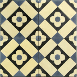 Echte cement tegels met Portugees motief 20x20 cm blauw, creme en zwart