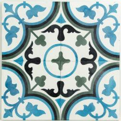 Echte cement tegels met Portugees motief 20x20 cm blauw, zwart, groen en wit