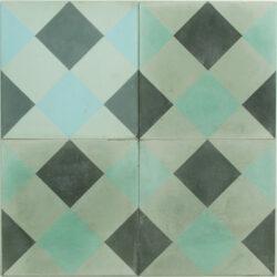 Portugese cement tegels 20x20 blauw groen type 71