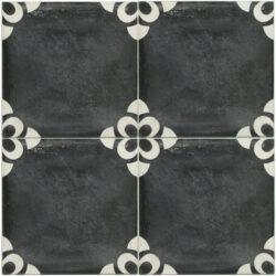 Portugese cement tegels 20x20 bloem zwart wit type 50
