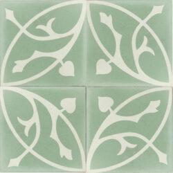 Portugese cement tegels 20x20 groen wit bloem motief type 42