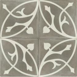 Portugese cement tegels 20x20 bloem grijs type 75