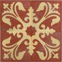 Portugese cement tegels 20x20 bloem rood geel type 99