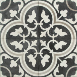 Portugese cement tegels 20x20 bloem zwart wit type 93