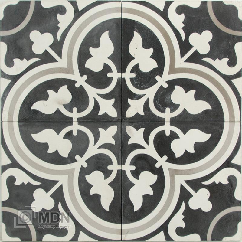Zwart Wit Vloertegels.Portugese Cement Tegels 20x20 Bloem Zwart Wit Type 93