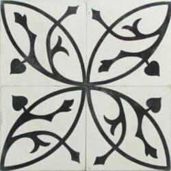 Portugese cement tegels 20x20 bloem zwart wit type 95