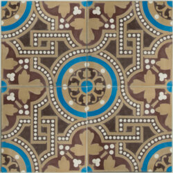 Portugese cement tegels 20x20 bruin blauw type 88