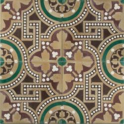 Portugese cement tegels 20x20 bruin groen type 89