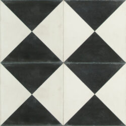 Portugese cement tegels 20x20 driehoeken zwart wit type 85