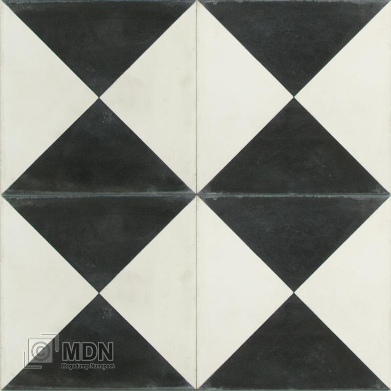 Zwart Wit Tegels.Portugese Cement Tegels 20x20 Driehoeken Zwart Wit Type 85