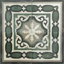 Portugese cement tegels 20x20 grijs groen type 78