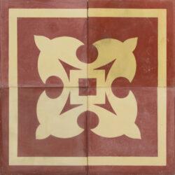 Portugese cement tegels 20x20 hoekstukken rood type 82
