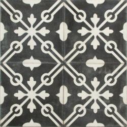 Portugese cement tegels 20x20 zwart wit type 87