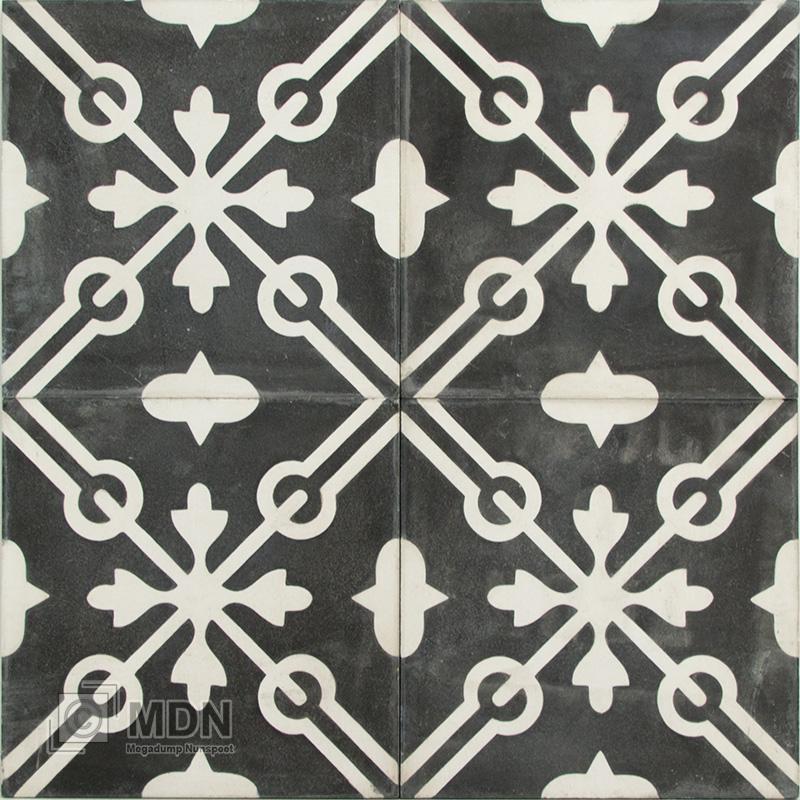 Zwart Wit Vloertegels.Portugese Cement Tegels 20x20 Zwart Wit Type 87