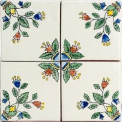 Unieke hand beschilderde wandtegeltjes met bloempjes 10,5 x 10,5 cm