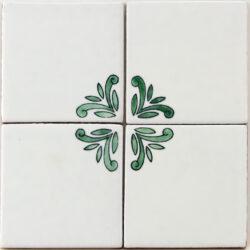 Hand beschilderde wand tegels wit met bloem motief