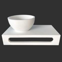 Fonteinset Solid Surface mat wit waskom met planchet