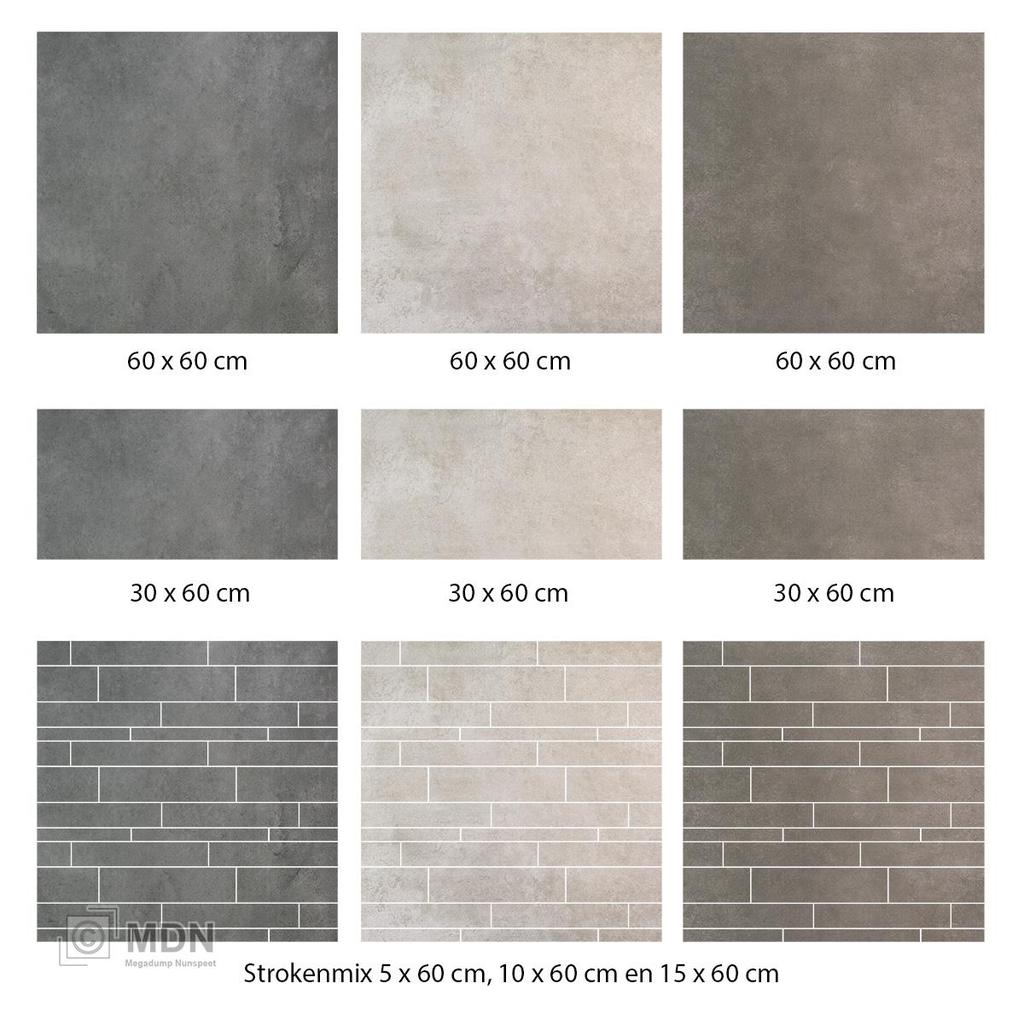 Vloertegels Betonlook Europe Taupe 60x60 Anti Slip R10 Megadump