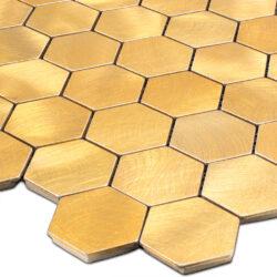 Geborsteld goud hexagon mozaiek
