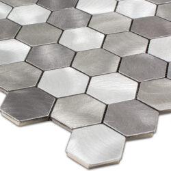 Geborsteld rvs hexagon mozaiek