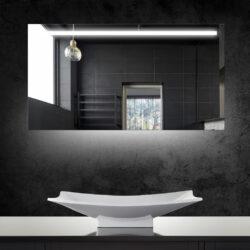 Aluminium spiegel met LED verlichting, verlichting aan de onderkant en verwarming