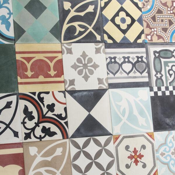 Portugese cement tegels 20x20 bonte kleuren mix