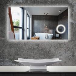 Spiegel met led verlichting en make-up scheerspiegel
