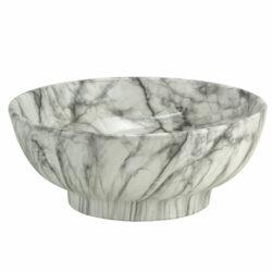 Waskom keramiek marmer structuur wit geaderd 41x41x18cm