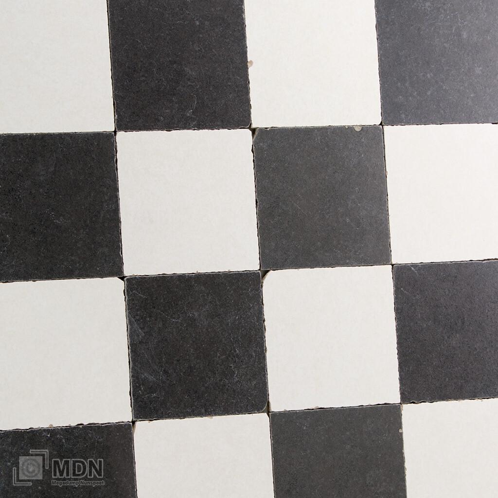 Verwonderlijk Getrommelde vloertegels zwart wit geblokt dambord 15x15 | Megadump FG-68