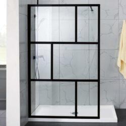 Luxe industriele douchewand met mat zwart profiel