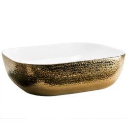Donker gouden waskom met krokodillen structuur 50x40x14 cm
