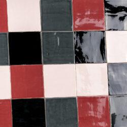 Handvormtegels 13x13 Bourgondy Pink Black en Grey